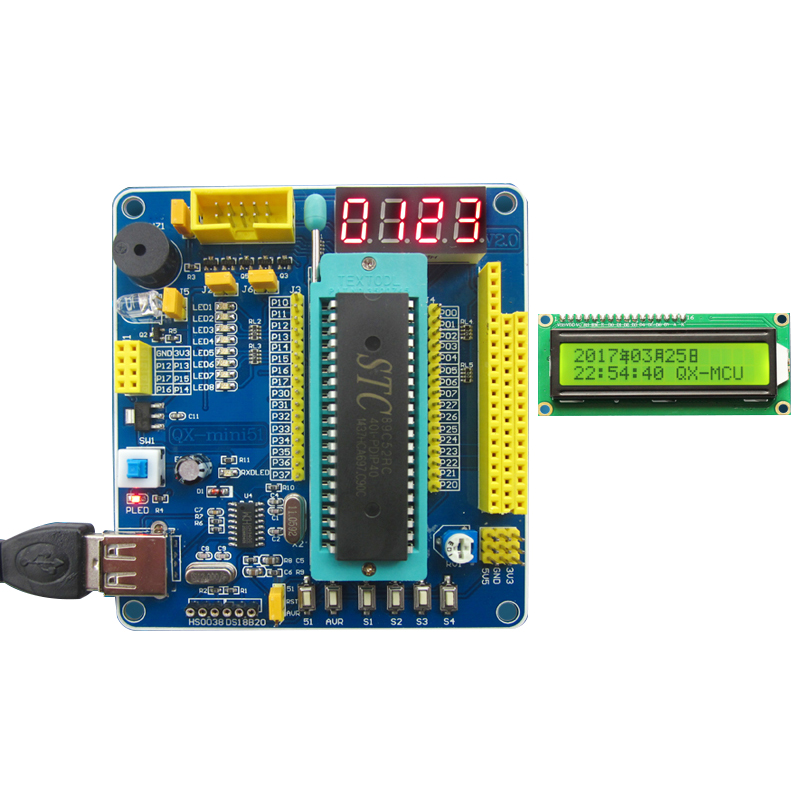 51/AVR MCU Minimum System Board 51 MCU Learning Board 51 MCU Development Board With  LCD