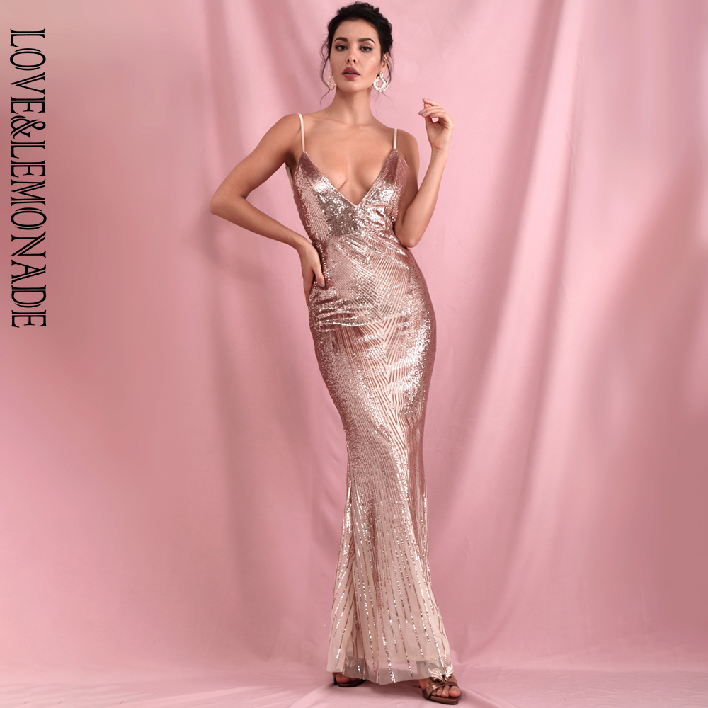 LOVE&LEMONADE Sexy Rose Gold Deep V-Neck Geometric Sequins Slim Fit Open Back Fishtail Party Maxi Dress LM81225-1