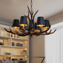 American Country resin antler chandelier bedroom Dining room Restaurant horn lamp Vintage Loft Retro Rustic Chandelier цена