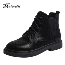MAIERNISI Women booties autumn winter shoes platform warm fashion sexy boots ladies PU solid Female large size 35-42
