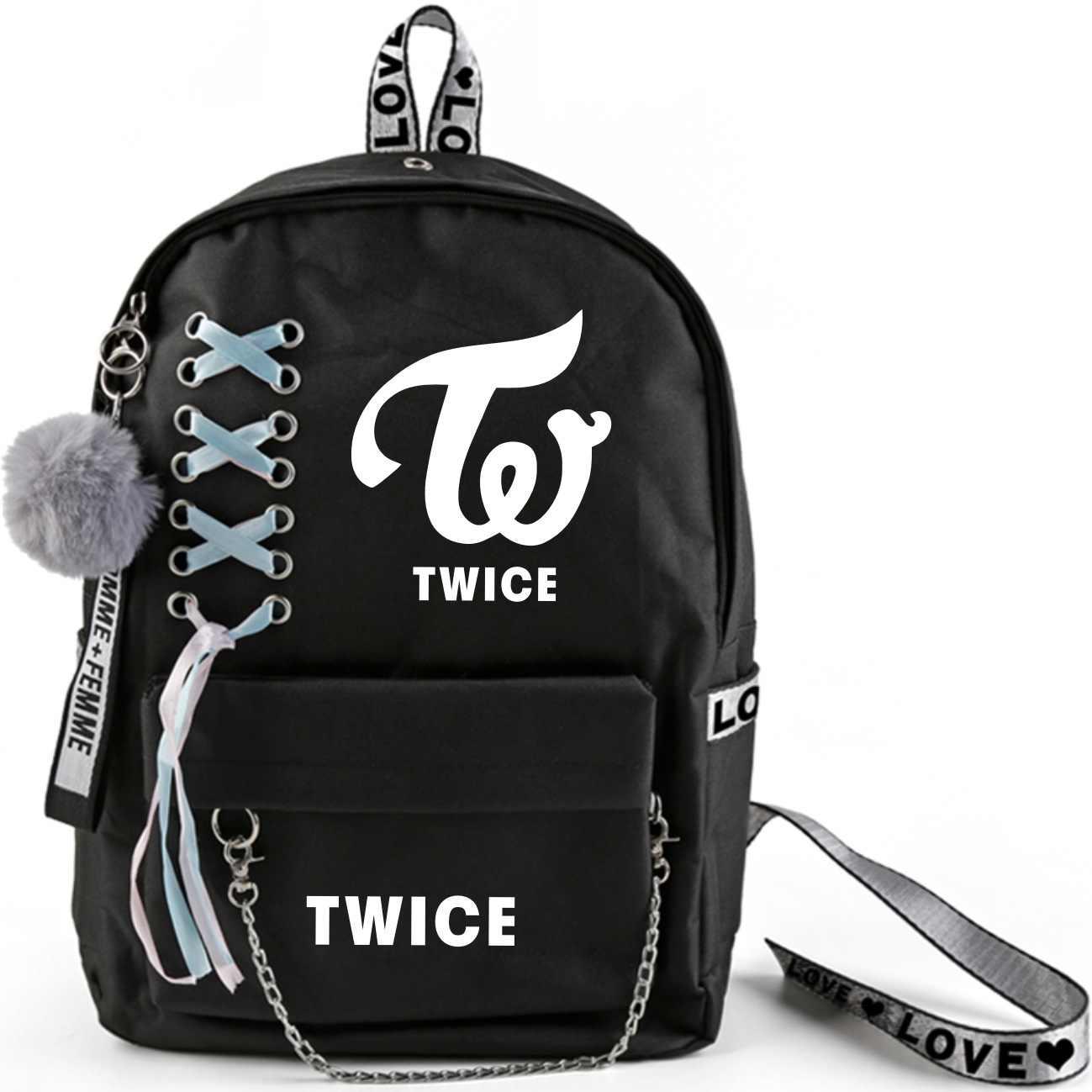 KPOP TWICE Momo Mina Tzuyu Sana Schoolbag Double Shoulder Bag Fresh-wrap, Korean-style Backpack High-capacity Bag Students New