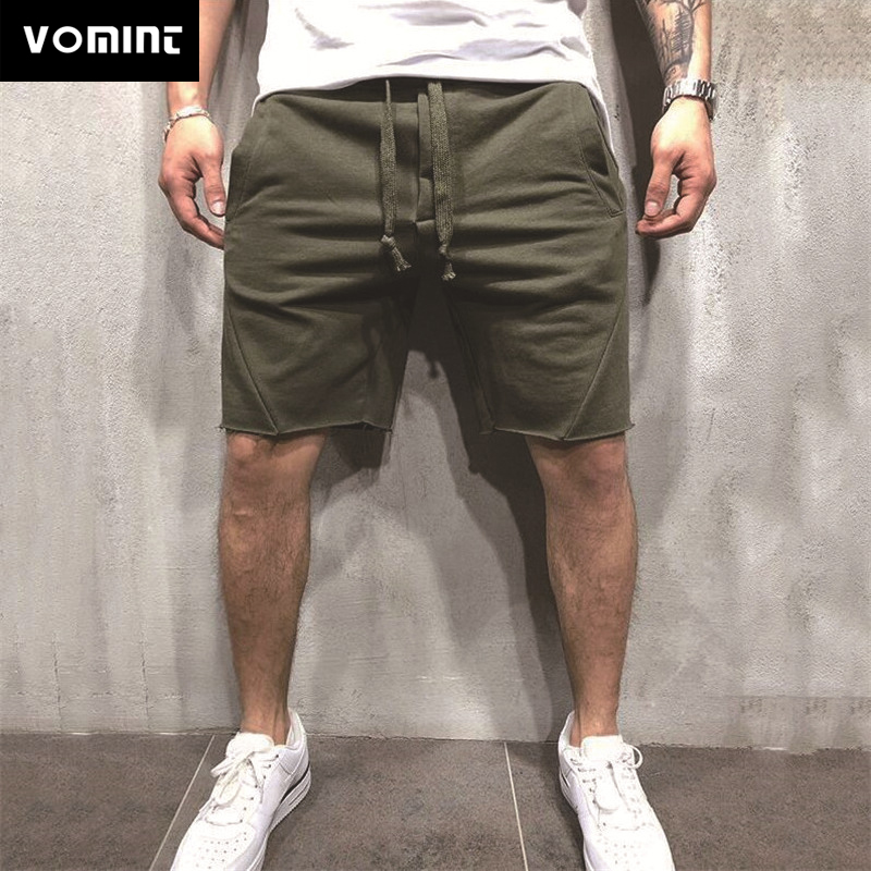 VOMINT Mens Summer Short Knee-length With Elastic Drawstring Waist Men's Sweatshort With Side Pockets  Short Pants