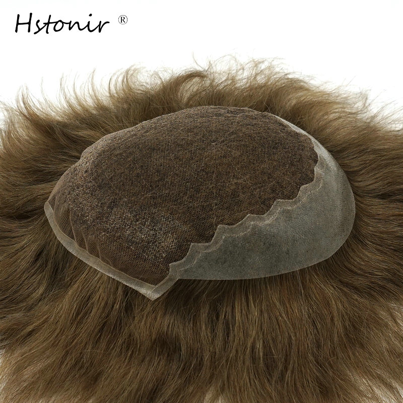 Hstonir 6 Inch Natural Straight Remy Hair Mens Toupee Swiss Lace And PU Mens Toupee Hair Replacement System Custom Base H045