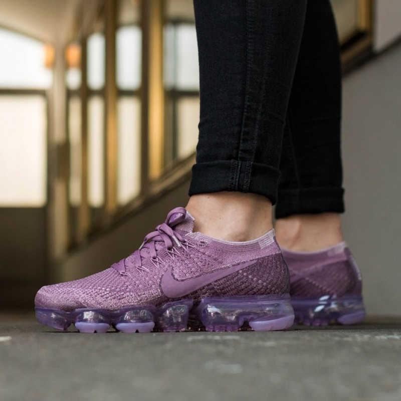 أصيلة نايك الهواء VaporMax Flyknit المرأة احذية الجري أجهزة لياقة خارجية حذاء رياضة ضوء شبكة تنفس امتصاص الصدمات 849557