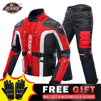 DUHAN jesienno-zimowa zimowa kurtka motocyklowa Moto + Protector spodnie motocyklowe Moto garnitur odzież turystyczna zestaw sprzętu ochronnego tanie i dobre opinie CN (pochodzenie) 100 nylon D-023 DK-02 D-020 D-089 Windproof Cold-proof Keep Warm Kurtki Mężczyźni Motorycele Jacket Motorcycle Pants Moto Protection Motorcycle Suit