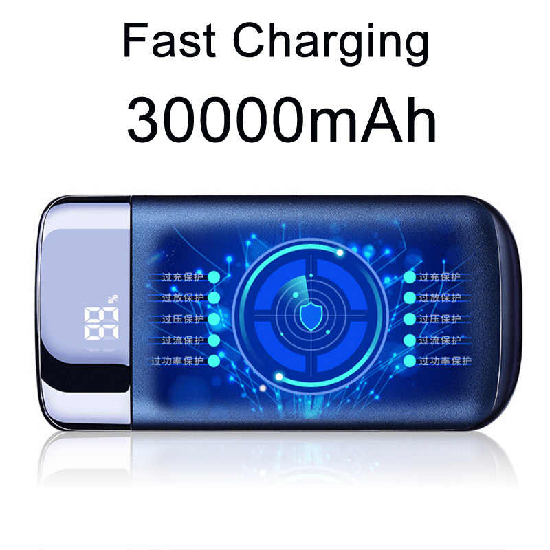 30000 Mah Power Bank Externe Batterij Powerbank 2 Usb Led Light Draagbare Mobiele Telefoon Oplader Voor Xiaomi Voor Iphone 6 /6S