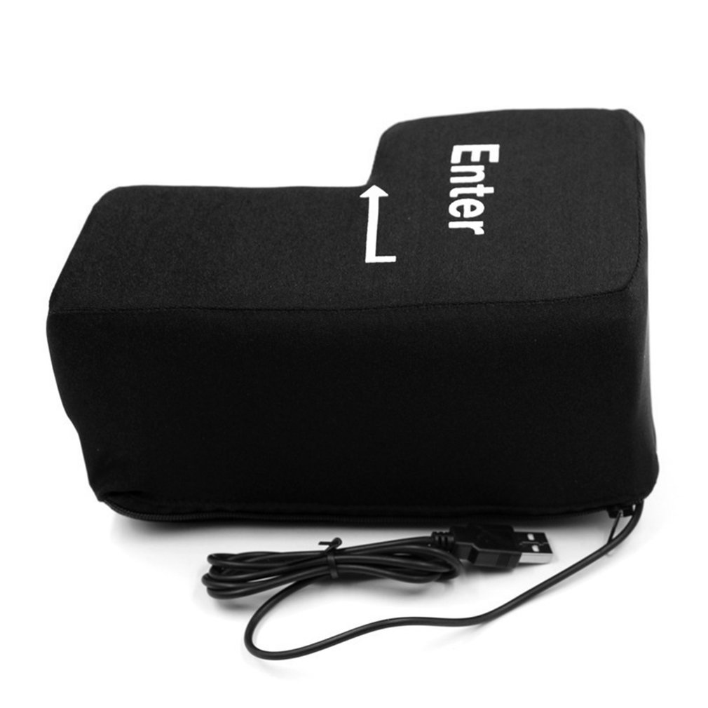 Portable Funny Decompression USB Big Enter Key Pillow Toys Soft Computer Button Return Key Pillow Offices Vent Stress Relief Toy