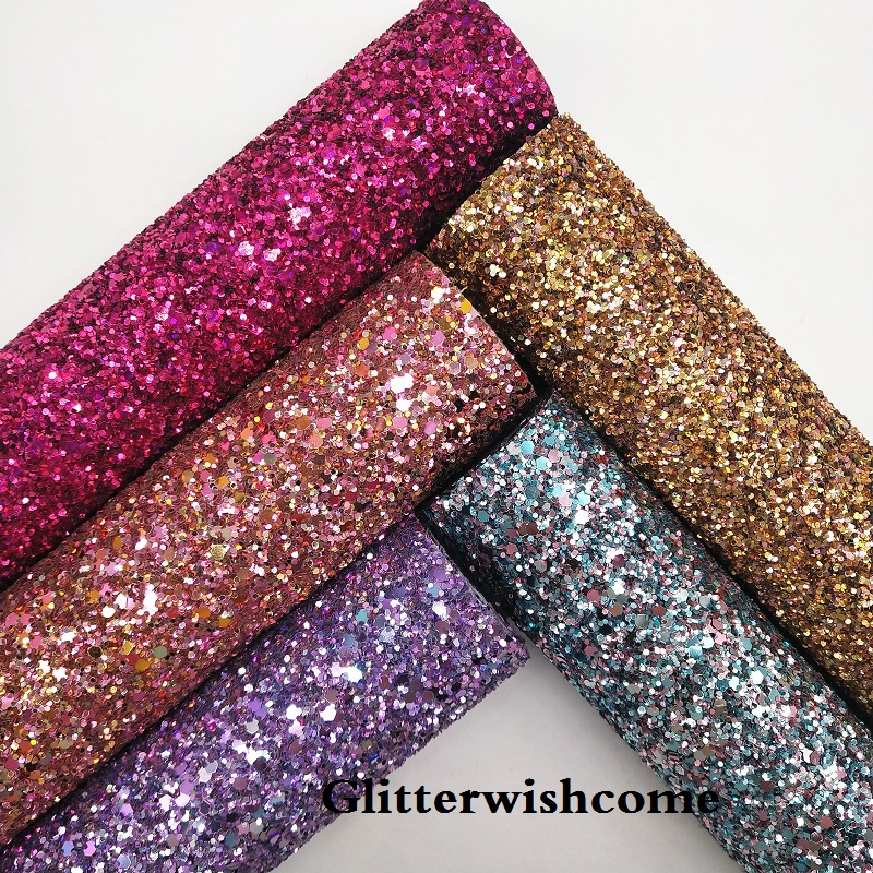 Glitterwishcome 21X29CM A4 Size Vinyl For Bows, Iridescent Chunky Glitter Leather Fabric Vinyl For Bows, GM120A