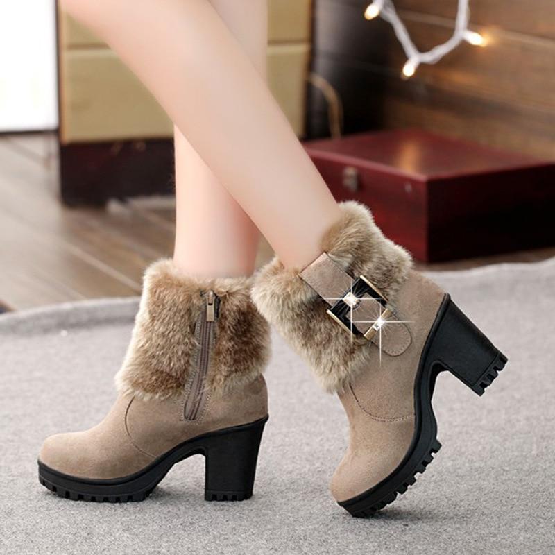 Square Heel Women Winter Shoes Classic Buckle Warm Fur Snow Ladies Boots High Heels Black Platform Ankle Boots Women Botas VT310