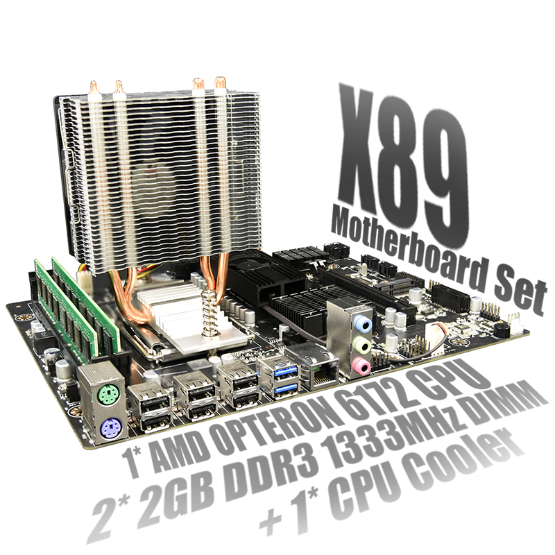 X89 Set Combo For AMD Motherboard <font><b>G34</b></font> <font><b>Socket</b></font> DDR3 Memory SATA2 USB3.0 with AMD Opteron 6172 + 2X 2GB DDR3 1333MHz RAM + CPU Fan image