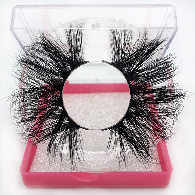 Buzzme New Package 25mm Long 3D Mink Lashes Square Box Dramatic Volume Eyelashes Full Strip Thick Makeup False Lashes