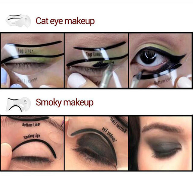 2Pcs Professional Eyeliner Stencils Models Template Shaping Tools Eyebrows Template Card Eye Shadow Eyeliner Stencil Makeup Tool 3