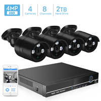 BESDER H.265 système de caméra de sécurité CCTV 8CH POE NVR avec caméra IP 4MP Kit de vidéosurveillance étanche IP66 système de Surveillance vidéo XMEye