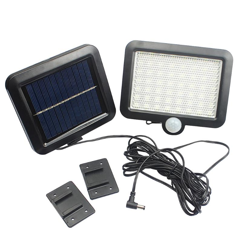 Security Solar Panel Power PIR Motion LED Outdoor Lights ABS Wall Light