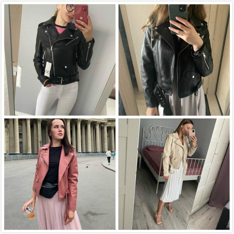 H92988a66755c4e0587de26ee81d502f0i Spring Autumn Women Faux Leather Jacket Ladies Solid With Belt Zipper Biker Coat Female Casual Outwear