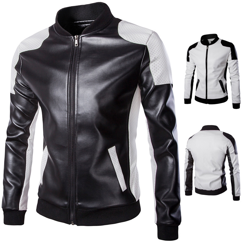 2018 Autumn Men Stand Collar Leather Coat Trend Black And White Mixed Colors Plus-sized Leather Coat Men'S Wear