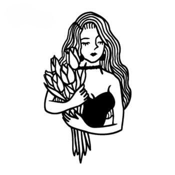 Temporary Tattoo sticker small Black White sketch Flowers flash Tatoo  Drawing Body Art Fake Water Transfer Stickers to kid girl 2