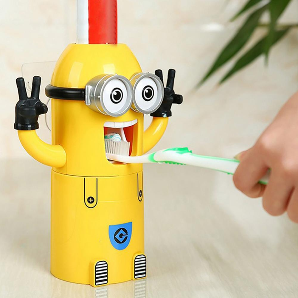 Creative Automatic Toothpaste Squeezing Dispenser Toothbrush Holder Mouthwash Cup 3In1 For Kids Bathroom Accessories
