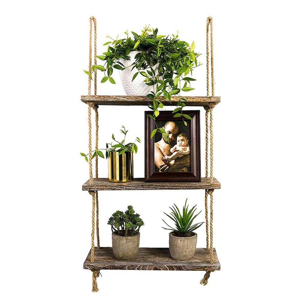 1/2/3 Tier Rustic Wooden Hanging Rope Shelf-Handmade Solid Wood Floating Shelves Home Decorative Wall Mounted Rack LBShipping