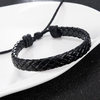 Fashion Men Black Weave Leather Simple Adjustable Bracelet Bangle Cuff Rope Bracelet Jewelry Gift For Boyfriend 2