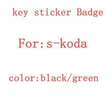 5 pçs preto verde 14mm estilo do carro acessórios decalques para s-koda carro chave adesivo emblema logotipo