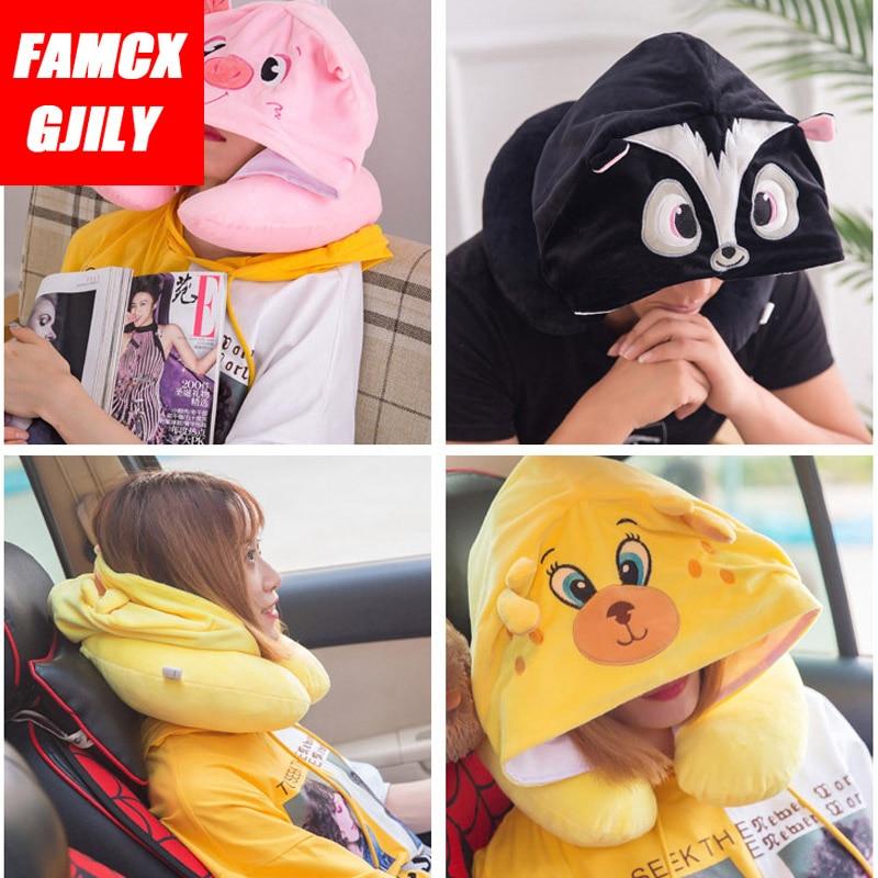 women men u shape travel pillow cartoon cute hoodie animals neck pillow office airplane new neck cushion for sleep outdoor