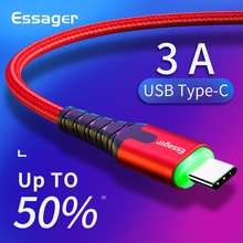 Essager LED USB Type C Cable 3m Fast Charge Wire Cord USBC Cable for Xiaomi K20 Samsung Oneplus 7 Pro Mobile Phone USB-C Charger essager led usb type c cable fast charge wire cord 3m usbc cable for xiaomi k20 samsung oneplus 7 pro mobile phone usb c