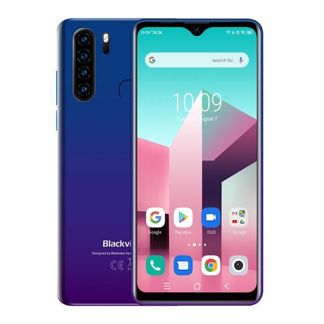 Blackview A80 Plus 6.49'' 4GB+64GB MT6762D Octa Core Android 10.0 Smartphone 13MP Quad Camera 4680mAh 4G NFC Mobile Phone 5