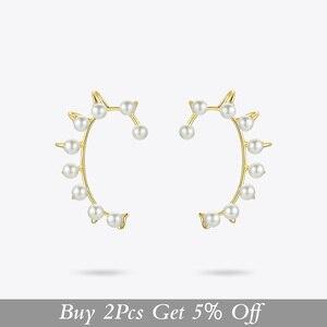 Image 2 - ENFASHION Pendientes gemelos de perla para oreja para mujer, aretes grandes de Color dorado sin perforación, joyería, aretes EC191067