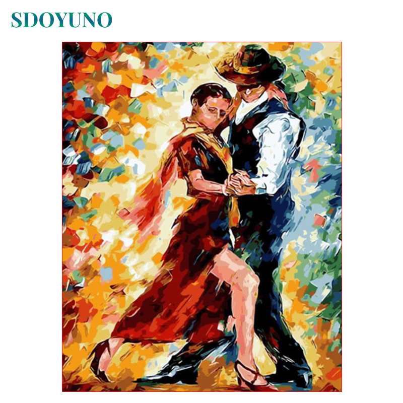 SDOYUNO 60X75cm Painting By Numbers DIY Home Decoration Duet Dance Frameless Pictures By Numbers On Canvas Digital Painting