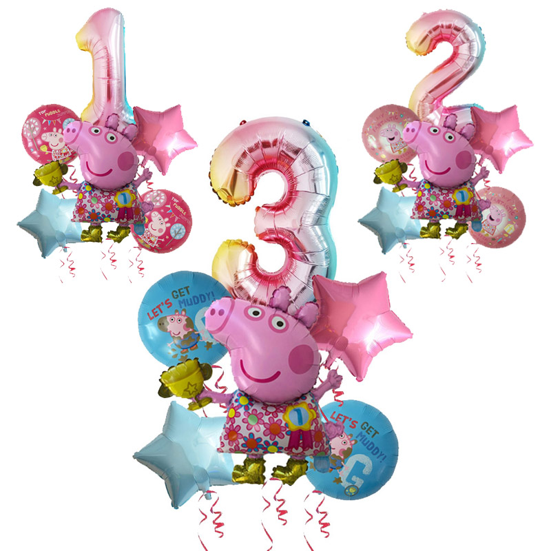 7pcs Cartoon Peppa Pig Foil Balloons 32inch Number Baby Boy Girl Helium Globos Happy Birthday Party Room Decorations Kids Toys