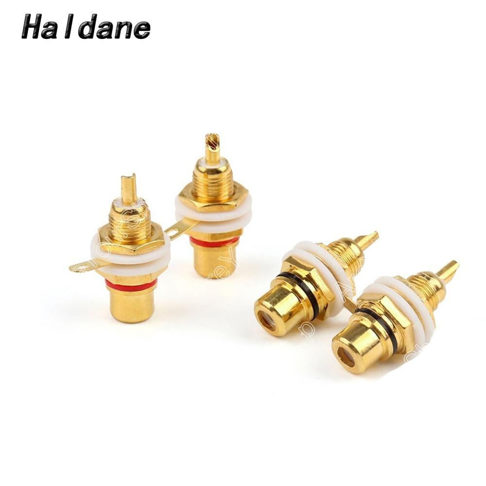 Haldane 8pcs HIFI RCA Female Jack Plated RCA Connector Gold Panel Mount Chassis Audio Socket Plug Bulkhead White Cycle