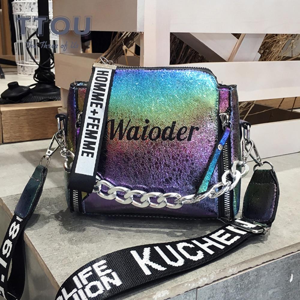 High Street Wide Strap Chain Women Crossbody Bags Designer Letter Print Female Shoulder Bags Good Quality Lady Travel  Handbags