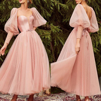 New Arrival Lace Tulle long sleeve Prom dresses 2020 Ankle Length Short dress vestidos de fiesta largos elegantes gala - discount item  4% OFF Special Occasion Dresses