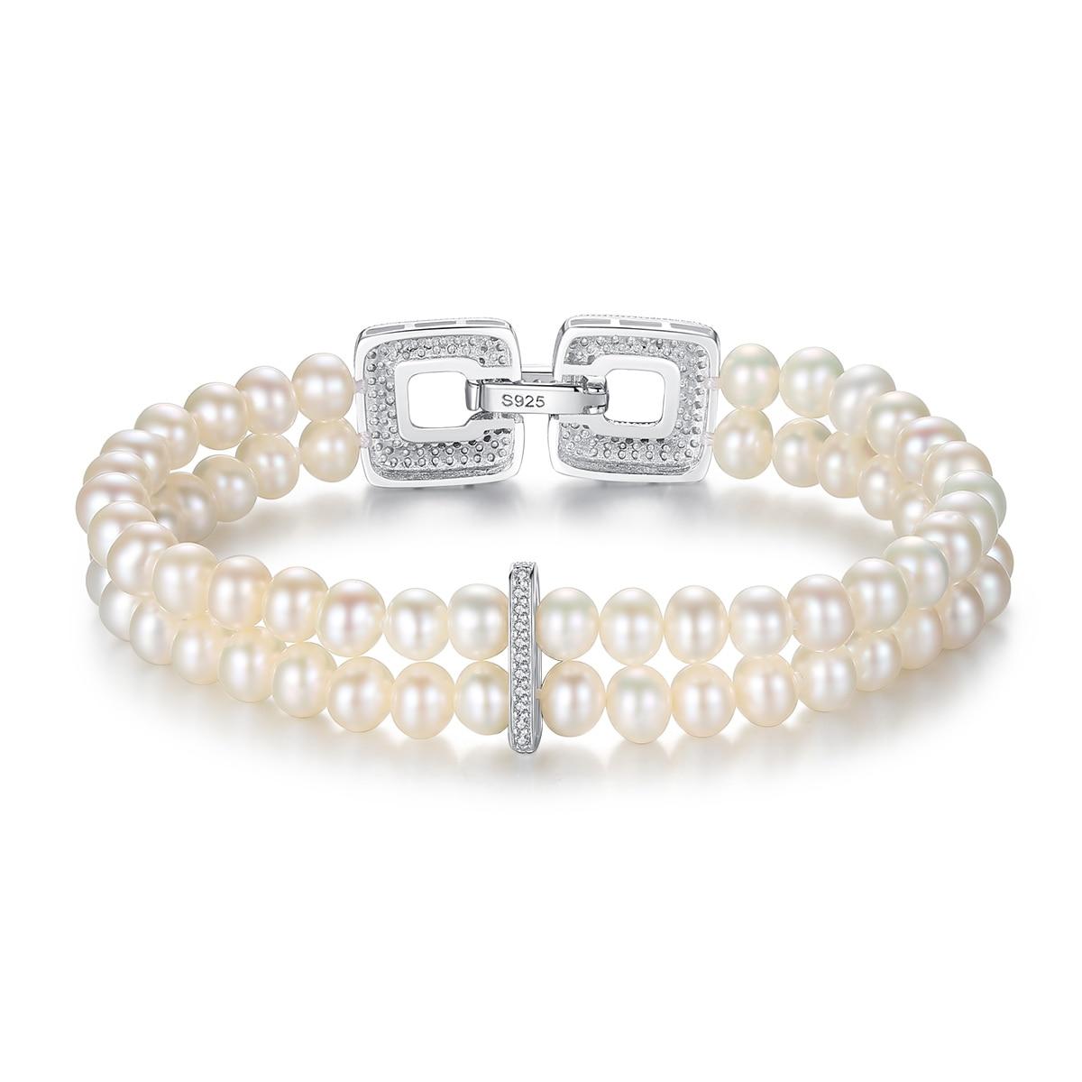 Fenchen Double rangée de perles Bracelet perle naturelle de luxe en argent Sterling 925 bouton femmes amour Bracelets Bracelets cadeau AB015