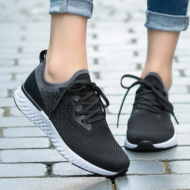 2019 New Style Large Size WOMEN'S Shoes Lightweight Sports Flying Woven Shoes Women's Fitness Running Shoes Casual Slip-on WOMEN