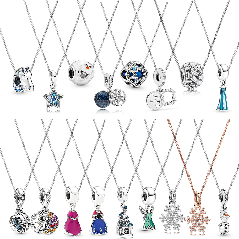 NEW Frozen Princess Queen Elsa Pendant Charm Necklace Silver Chain Jewelry Gift