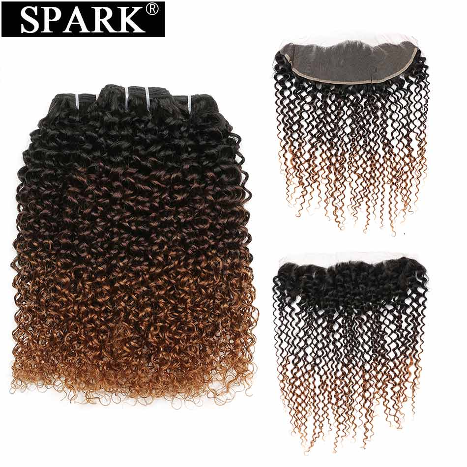 Spark Human Hair Mongolian Afro Kinky Curly Bundles With Frontal 13*4 Ear To Ear Human Hair Frontal With Bundles Ombre Hair