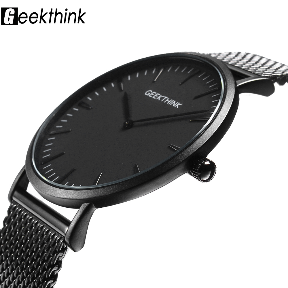 Quartz Watches Face-Clock Wooden Stainless-Steel Black Japan Mens Ultra-Thin Male Casual title=