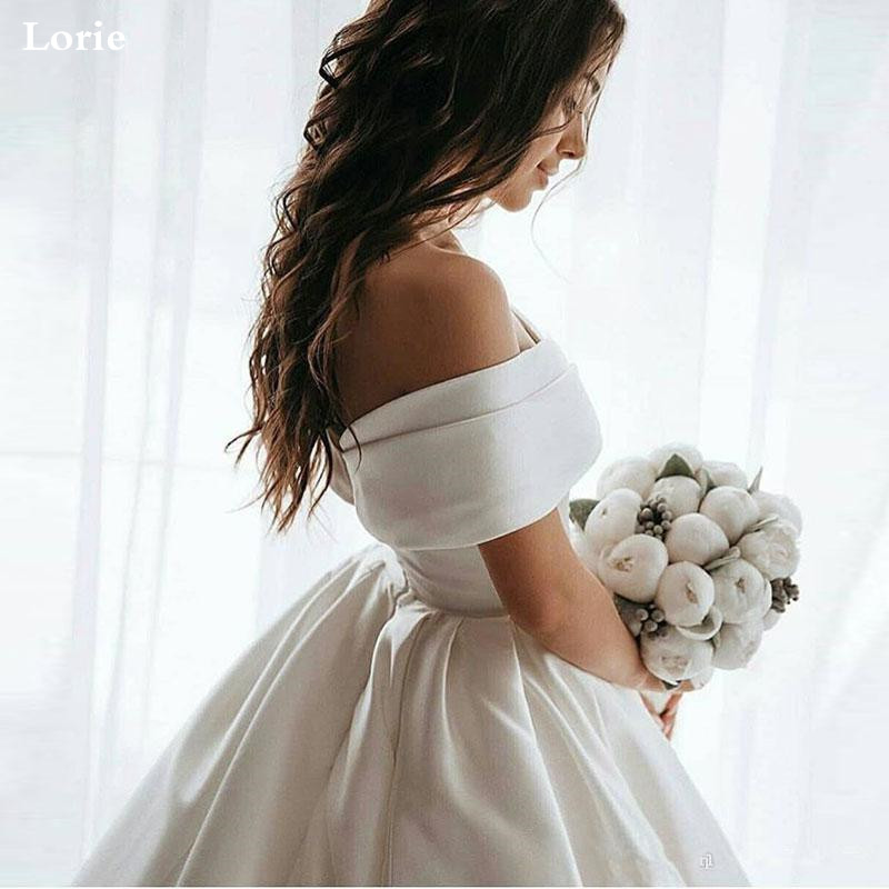 LORIE Princess Wedding Dresses Satin Vintage Off The Shoulder Wedding Bride Dresses Long Train  White Ivory Wedding Ball Gown