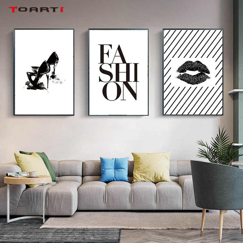Fashion Lady Girl Prints Poster High heel  Lip Canvas Painting On The Wall For Living Room Bedroom Home Decor Modern Art Picture