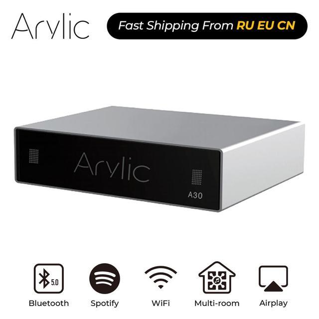 Arylic A30 WiFi und Bluetooth 5,0 Mini Hause Verstärker HiFi Stereo Klasse D digital multiroom mit Spotify Airplay Equalizer