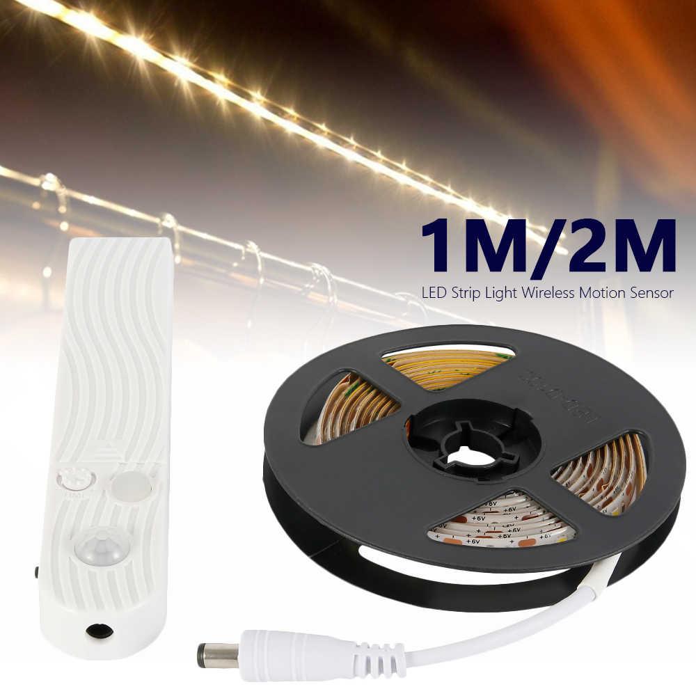 Sensor de movimiento PIR inalámbrico luz LED para debajo de gabinete escaleras de cocina armario dormitorio luz lateral lámpara LED DIY luz de la noche del armario