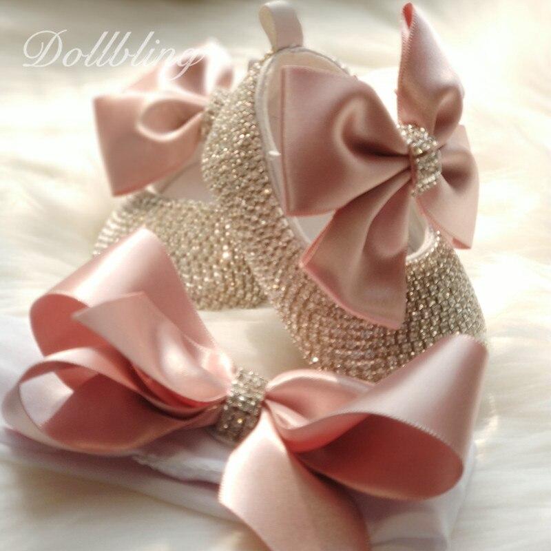 Dollbling/повязка на голову на крестины с украшением в виде кристаллов обувь для младенцев для крещения бутик монограммой для имя индивидуальны...