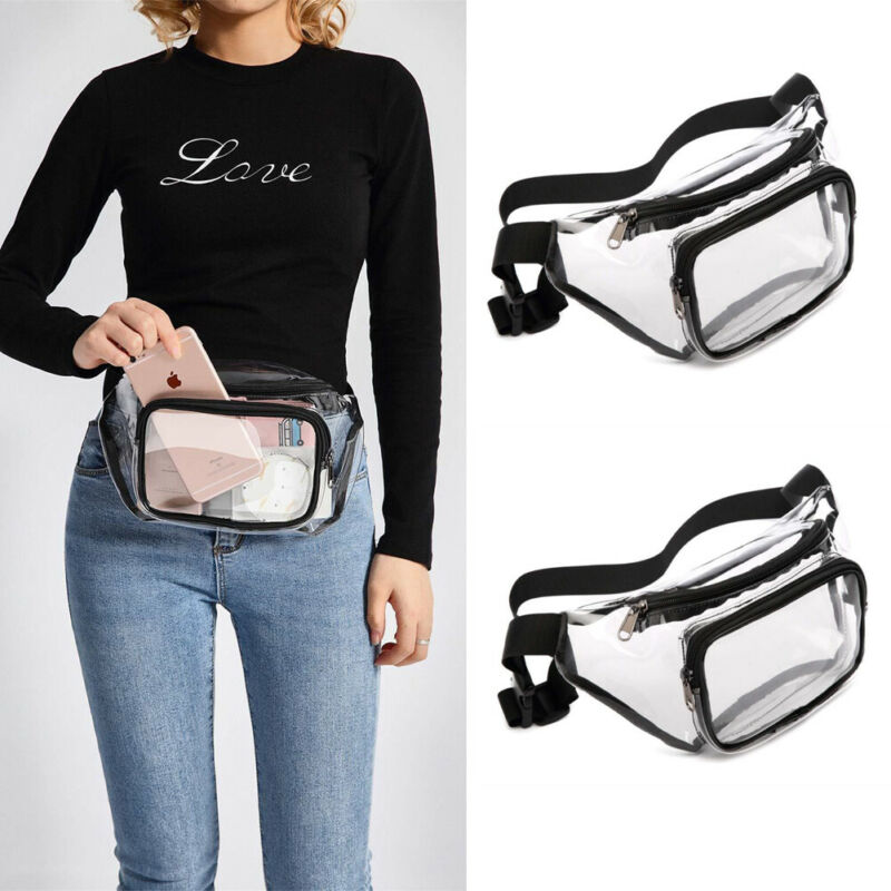 Women Transparent Clear Jelly Messenger Bag Waist Fanny Pack Bum Bag Satchel  /BY