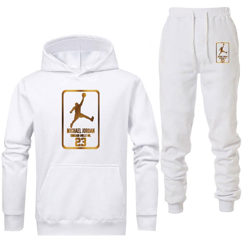 Jordan White Tracksuit Men Set Jacket Hoodie With Pants Sets Brand Mens Winter Fleece Warmth Casual Clothing Dropshipping