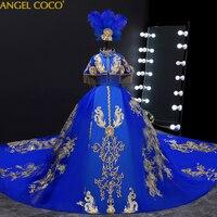 Royal Gown Evening Dress Kids Dresses For Girl Princess Wedding Party Dress Children Beauty Pageant Dress Feather Headdress 2020