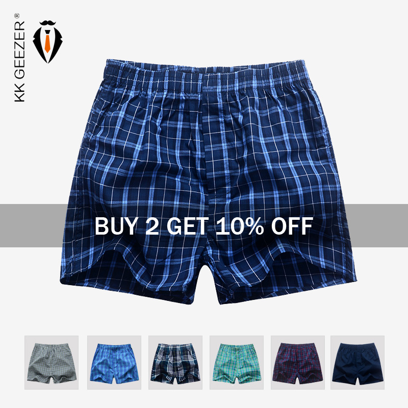 Men Underwear Boxer Plaid Underpants 100% Cotton Shorts Men Striped Panties Loose High Quality Oversize Breathable Dropshipping(China)
