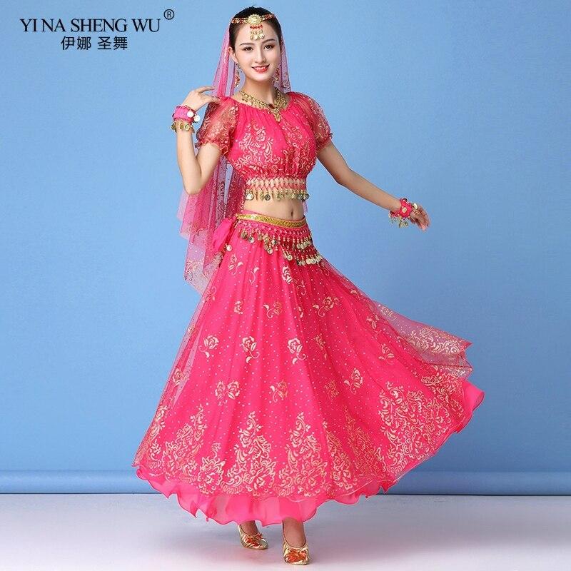 Bollywood Belly Dance Costume Set Indian Dance Sari Bellydance Skirt Suit Women Chiffon 3/5/7pcs (Headpiece Veil Top Belt Skirt)