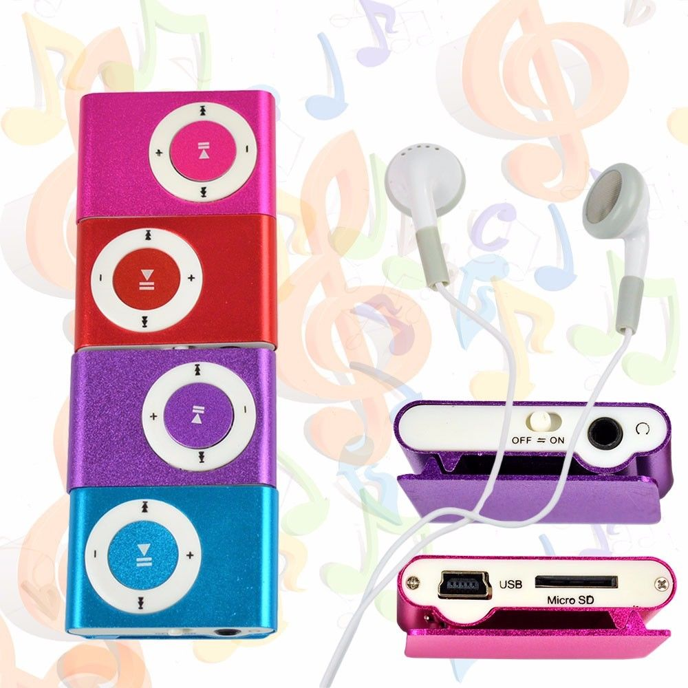USB 2.0 Port  Mp3 Mini Clip-on MP3 Player With Micro TF/SD Slot Portable Metal Mp3  With Earphone Clip Sports MP3 Player